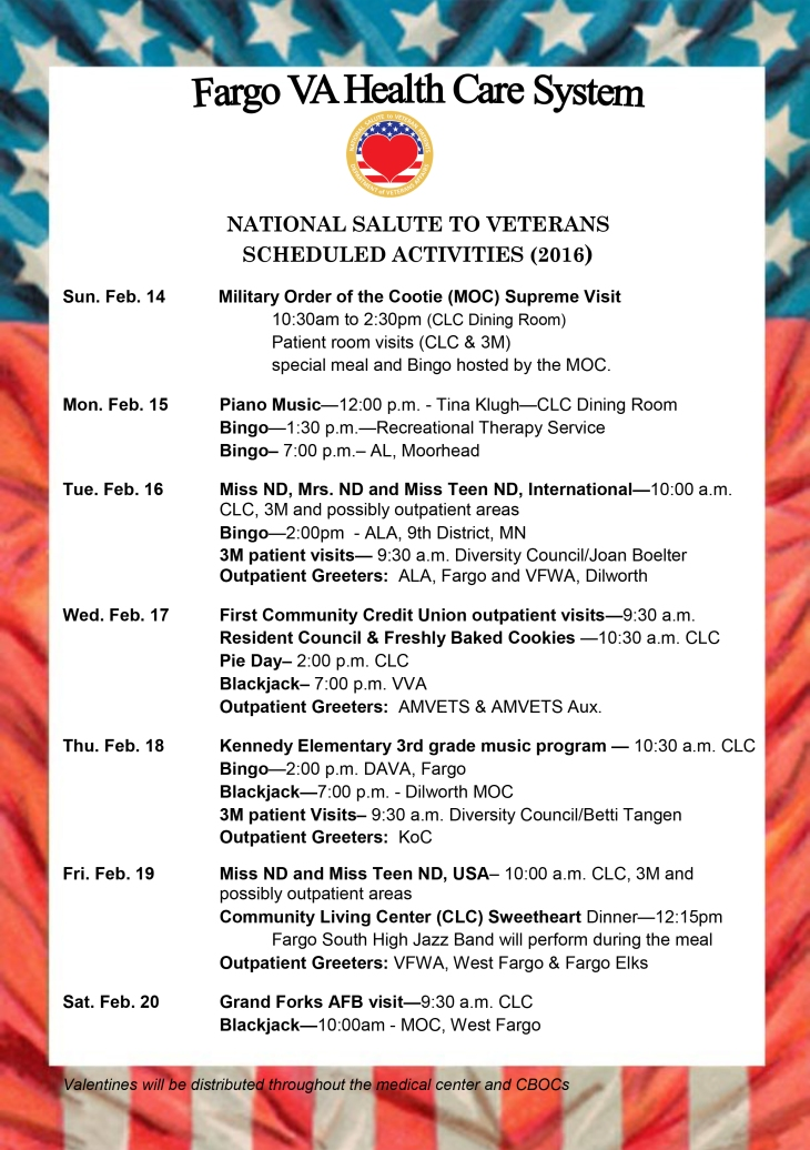 National Salute to Veterans Week Schedule